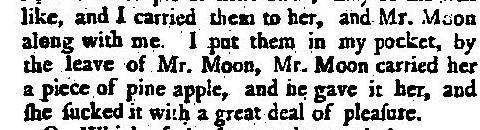 pineapple theft 18th century Mr Moon